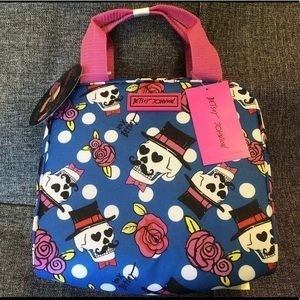 Betsey Johnson SKULL Roses Lunch Box Tote Bag Dead